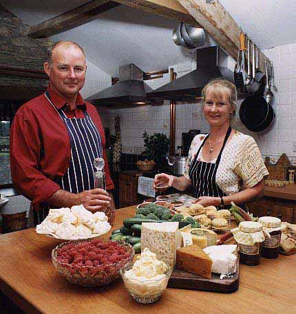 Hosts Antony & Jackie at Huxtable Farm B&B, North Devon