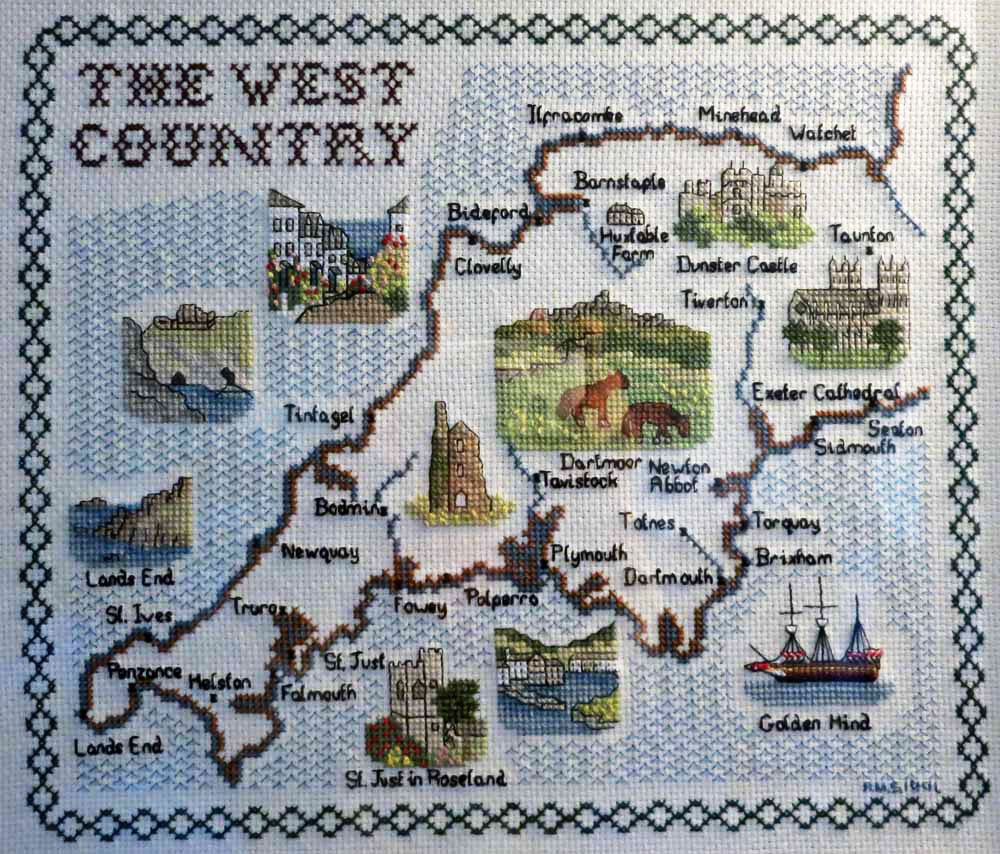 Devon cross stitch map with Huxtable Farm B&B near Barnstaple