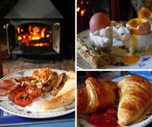 Freshly cooked full English breakfast with farm & local produce or continental breakfast with home-made bread and preserves, served next to crackling log fire in medieval dining room