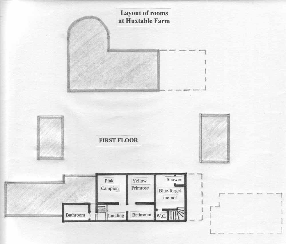First floor room layout at Huxtable Farm B&B