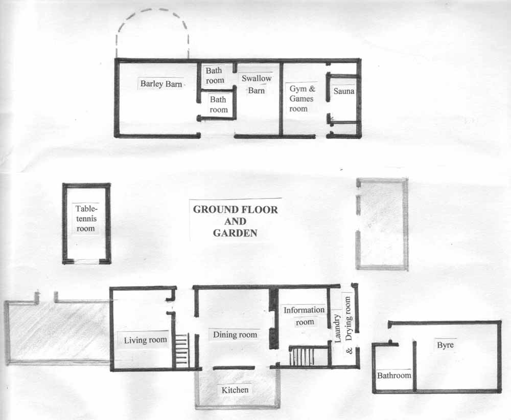 Ground floor room layout at Huxtable Farm B&B