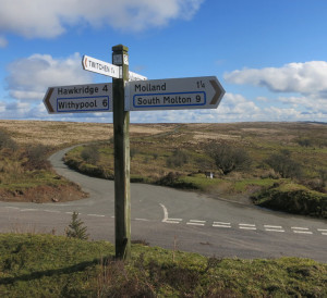 Exmoor-signpost; South Molton, Dulverton, Hawkridge, Withypool, Molland