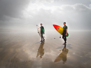 Surfers at Saunton Sands Beach