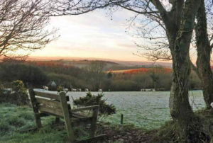 Huxtable Farm view from bench on a frosty morning