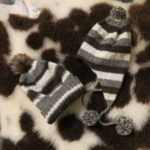 Stripy Jacob wool hats with pompoms
