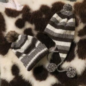 Stripy Jacob wool hats with pompoms