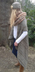 Hand spun & knitted wrap using Jacob X Texel fleece