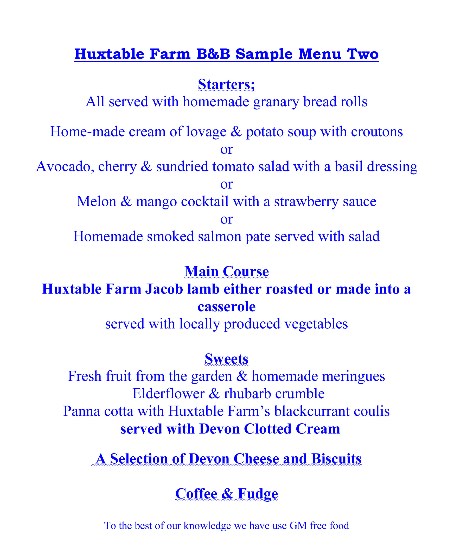 Sample Menu Two