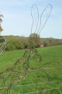 Ruth Bateman's hare sculpture with the view from her Art Studio