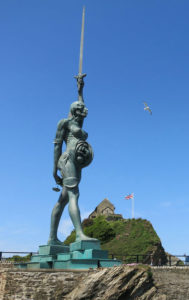 Damien Hirst's Verity at Ilfracombe harbour, North Devon