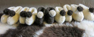 Hand knitted Jacob wool booties