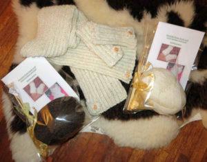 Huxtable Farm Jacob wool wrist warmers & scarf Knitting Kit