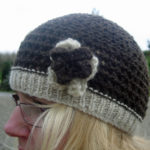 Hand knitted Jacob wool beret hat - Dark