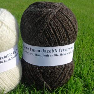 100gms Jacob X Texel/Alpaca, dark natural colour wool