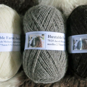 100gms Jacob wool, 75/25 Jacob/Mohair, natural grey colour