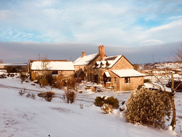 Huxtable Farm B&B in the snow