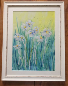 "Daisies - Watercolour Mounted Print by Jackie Payne £30 (9""x13"")"