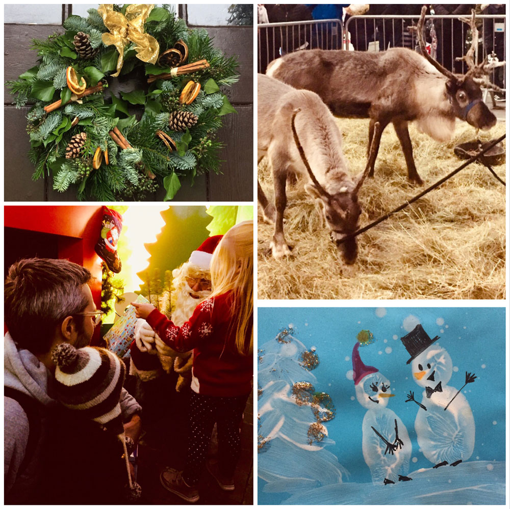 Happy Christmas from all at Huxtable Farm; Homemade wreath, Reindeer in South Molton Pannier Market, Santa at StJohns Garden Centre & home-made Christmas Card