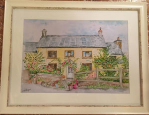 Water colour painting of Devon house