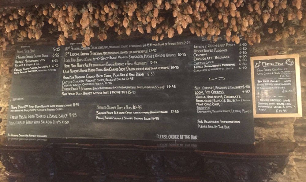 Black Venus Inn Menu