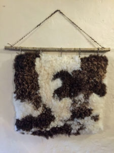 Felted Jacob sheepskin wall hanging A