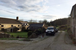 Parking outside barn rooms and access to farmhouse