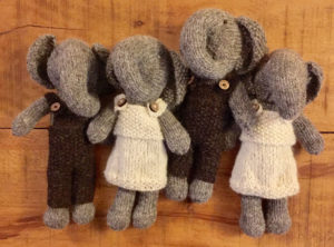 Hand knitted elephant with removable clothing £19 each
