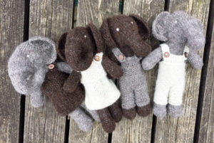 Hand Knitted elephants with removable clothing £19 each