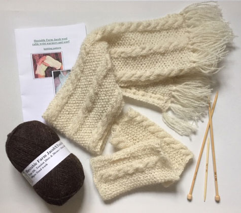 Cable scarf & warmers Knitting Kit £13.95 each