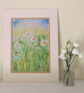 "Daisies Print of water colour painting by Jackie Payne (A4 print to fit 11""X14"" frame) Price includes P&P but not frame. £23 each print"