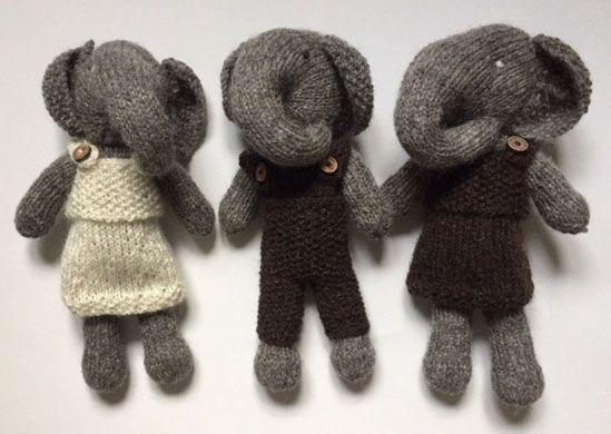 Elephants with removable outfit, Hand Knitted with Huxtable Farm Jacob Wool £19 each