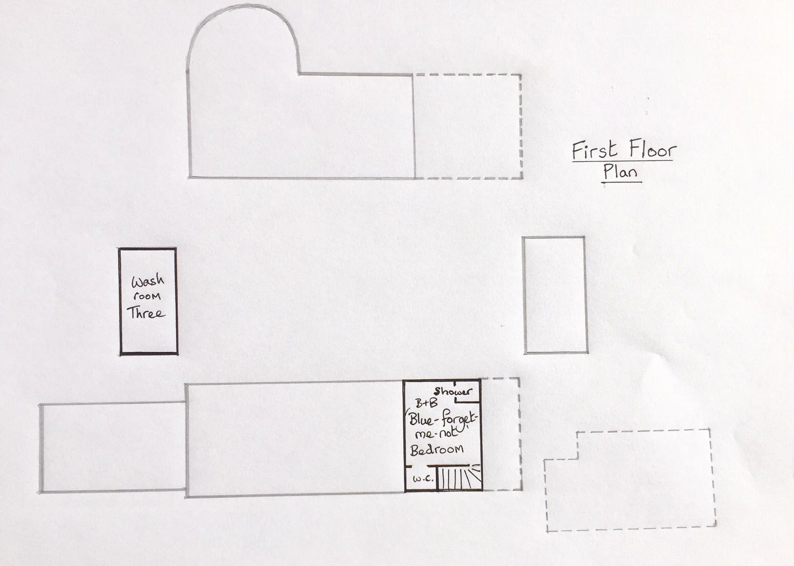 First floor room layout at Huxtable Farm B&B