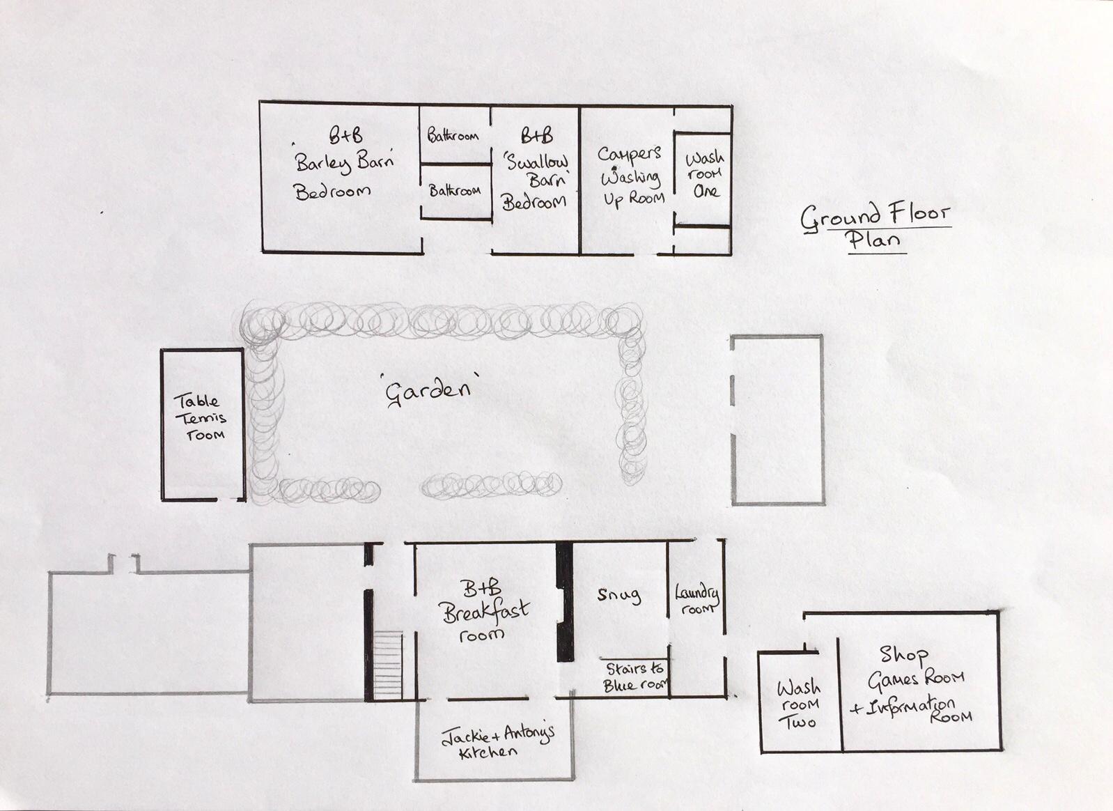 Ground floor room layout at Huxtable Farm B&B